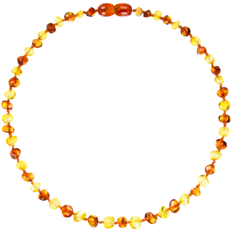 Baroque Multi 2 colors Lemon/Cognac Teething Necklace