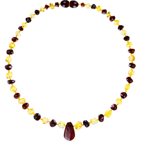 Baroque Multi 2 colors Lemon/Cherry Teething Necklace with Pendant