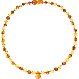 Baroque Multi 2 colors Lemon/Cognac Teething Necklace with Pendant