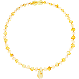 Baroque Multi 2 colors Milk/Lemon Teething Necklace with Pendant