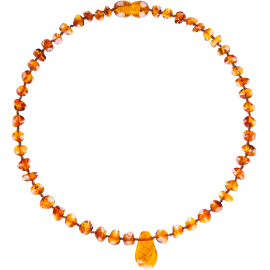 Baroque Cognac Teething Necklace with Pendant