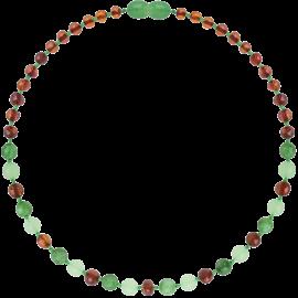 Baroque Cognac/Green Jade Teething Necklace