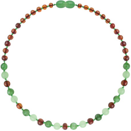 Baroque Cognac/Green Jade Teething Necklace