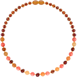 Baroque Cognac/Aventurine/Coral Teething Necklace