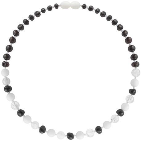 Baroque Cherry/Crystal/White Shell Teething Necklace