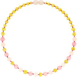 Baroque Lemon/Rose Quartz/Pink Jade Teething Necklace