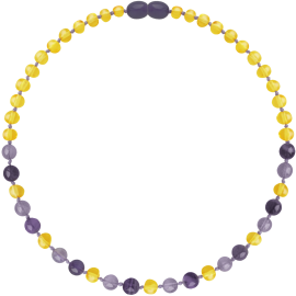 Baroque Lemon/Amethyst/Jade Teething Necklace
