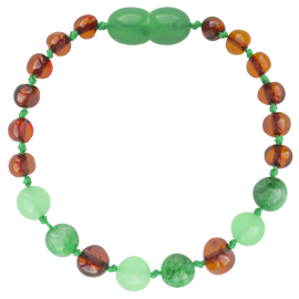 Baroque Cognac/Green Jade Teething Bracelet