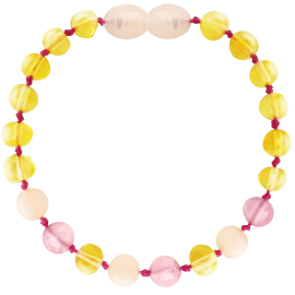 Baroque Lemon/Quartz/Pink Jade Teething Bracelet