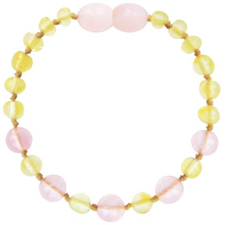 Baroque Lemon/Rose Quartz Teething Bracelet