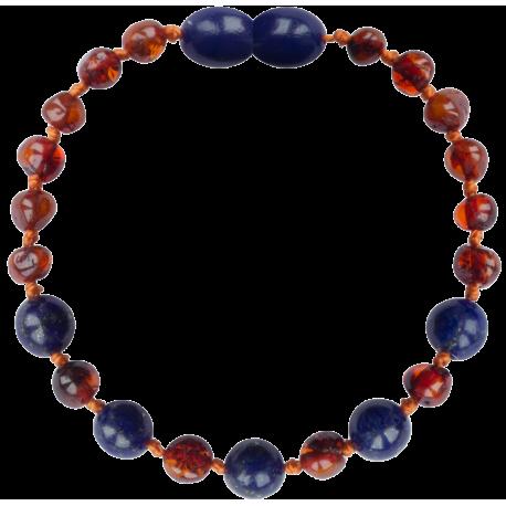 Baroque Cognac/Lapis Lazuli Teething Bracelet