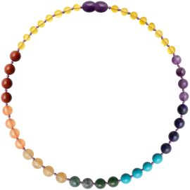 Baroque Lemon/Chakra Gemstones Teething Necklace