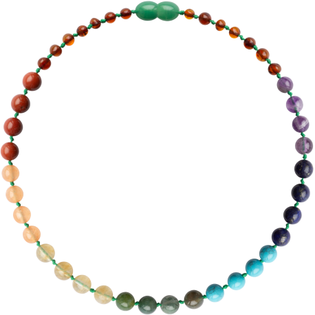 Baroque Cognac/Chakra Gemstones Teething Necklace
