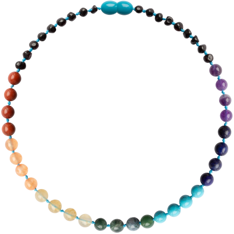 Baroque Cherry/Chakra Gemstones Teething Necklace