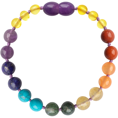 Baroque Lemon/Chakra Gemstones Teething Bracelet