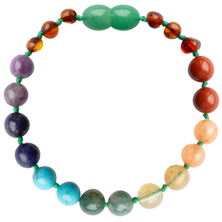 Baroque Cognac/Chakra Gemstones Teething Bracelet