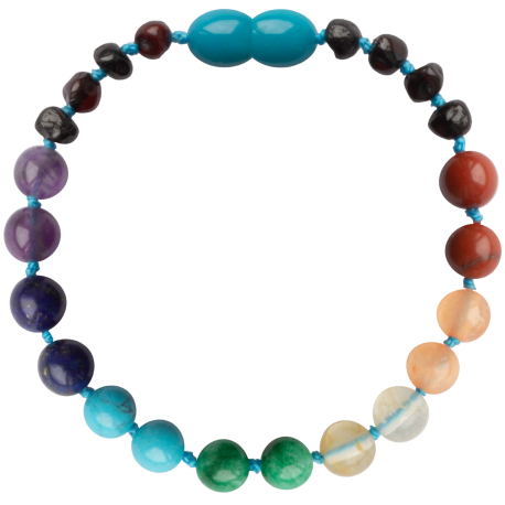 Baroque Cherry and Chakra Gemstones Teething Bracelet