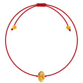 Baroque Red String Lemon amber Bracelet