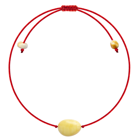 Red String Milk color Beans style amber Bracelet