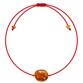 Red String Honey color Beans style amber Bracelet