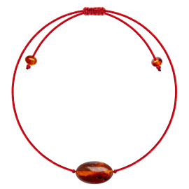 Red String Cognac color Beans style amber Bracelet
