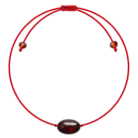 Red String Cherry color Beans style amber Bracelet
