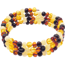 Memory Wire Multi 4 colors Baroque style amber Bracelet