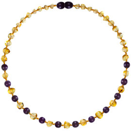 Baroque Lemon/Amethyst Teething Necklace