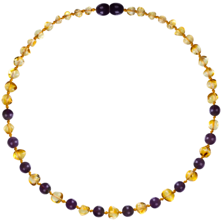 Baroque Lemon/Amethyst Teething Necklace