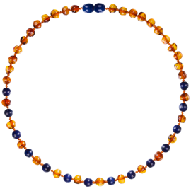 Baroque Cognac/Lapis Lazuli Teething Necklace