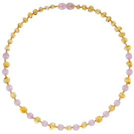 Baroque Lemon/Rose Quartz Teething Necklace