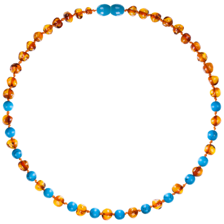 Baroque Cognac/Turquoise Teething Necklace
